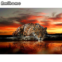 AMLHOME NEW 3D Diamond Painting Cross Stitch Leopard Crystal Needlework Mosaic Diamond Embroidery Full Diamond Decor