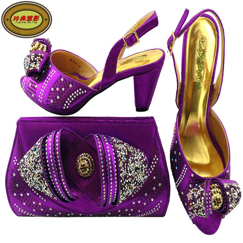 MM1045 Perfect Matching Purple Wedding Shoes And Bags Good Selling European Ladies Shoes And Bags Sets With Stones 1pcs ga 8knxp rev1 0 875 selling with good quality