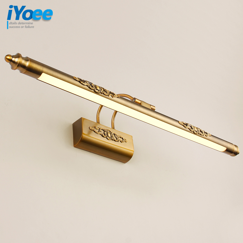 50CM/70CM/90CM Bathroom Mirror Lamp Waterproof Retro Bronze Cabinet Vanity Mirror Lights Led Wall Light Lamp Led Light headlight vintage classical simple brozen aluminum acryl led mirror light for bathroom cabinet waterproof bright wall lamp 45 75cm 1135