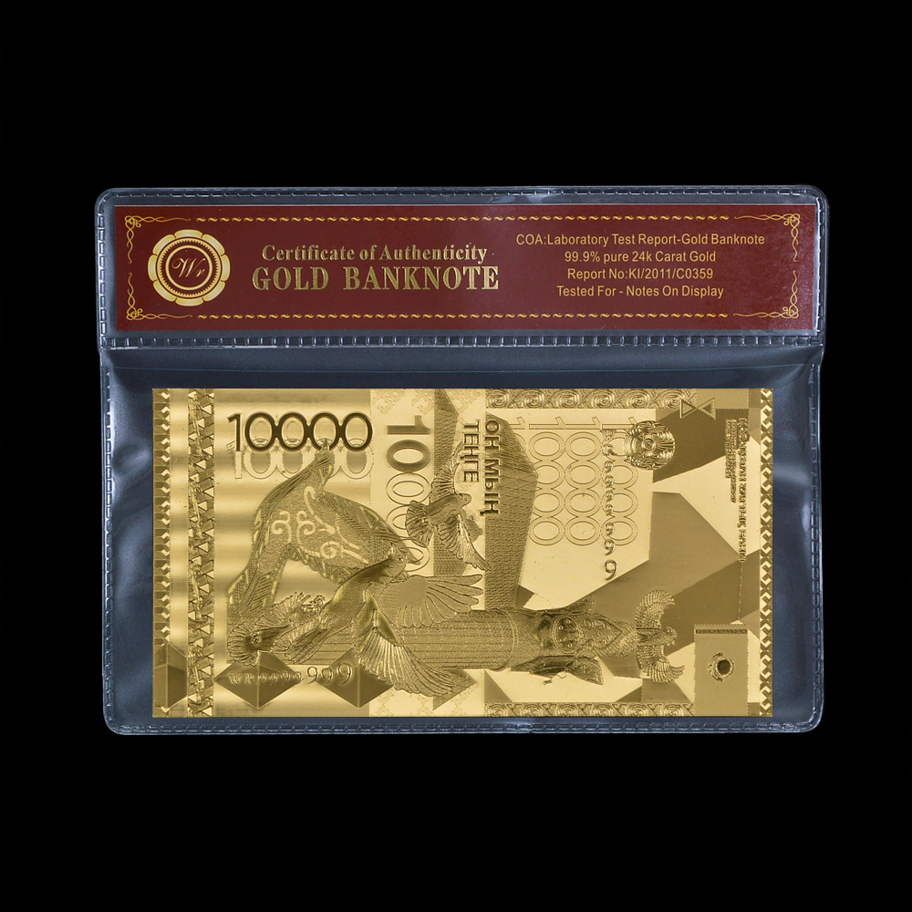 Normal Gold Kazakhstan Banknote 10000 Tenge For Gold Foil With COAPVC Frame Gifts Collection