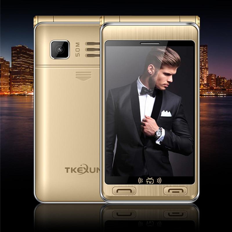 3.5 téléphones cellulaires double Écran Double Carte SIM seule clé TV SOS appel FM tactile mobile téléphone russe clavier bouton TKEXUN G10 +