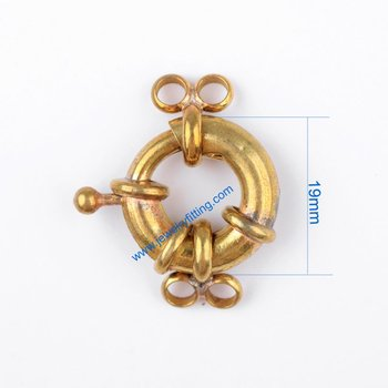 Brass Spring Ring Clasp with 4 loop China jewelry findings supplier shipping free mang color can be plated 300pcs