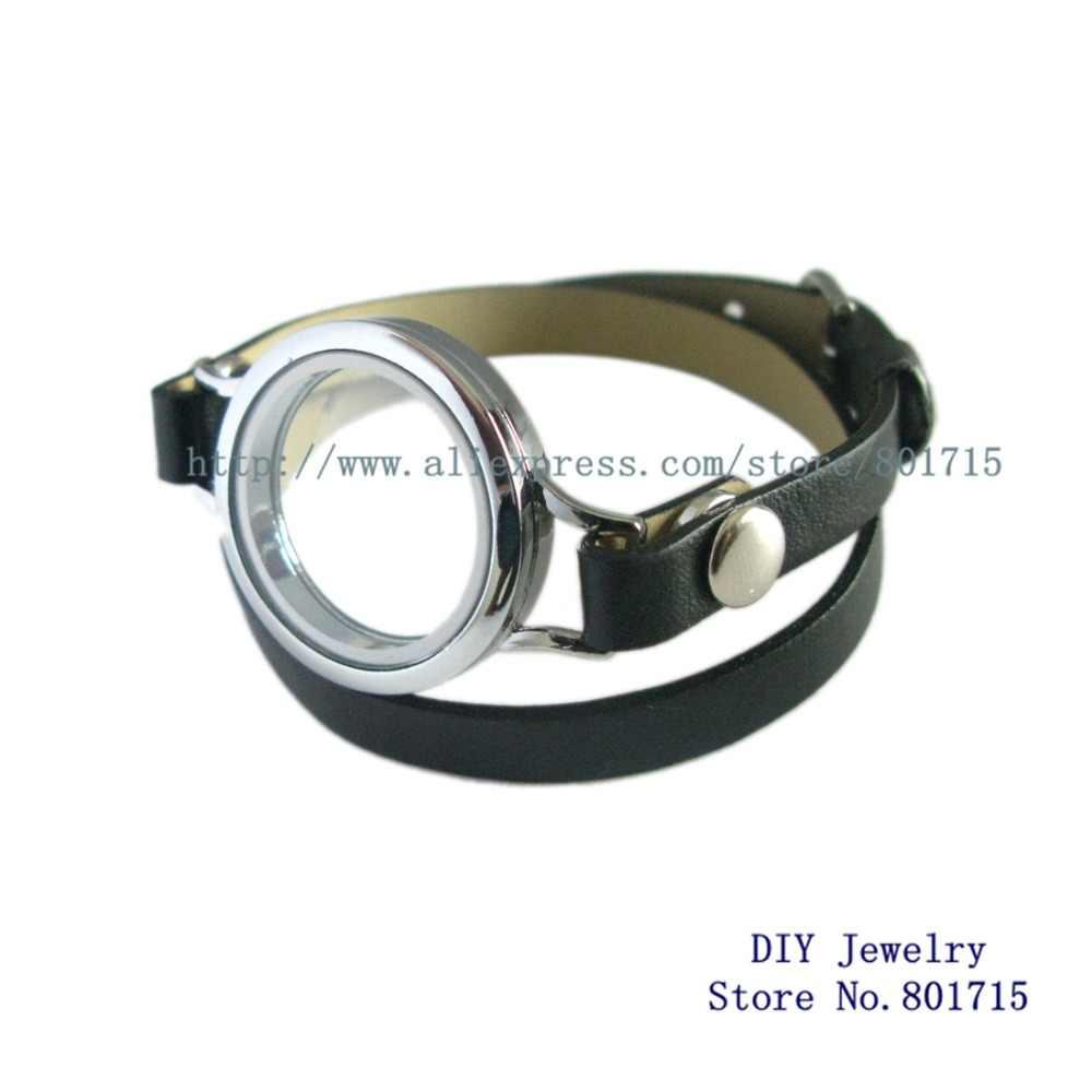 Vlakte Ronde Twist Schroefdraad Top Medaillon Zilver Goud Living Memory Medaillon Drijvende Medaillons Met Lederen Wrap Medaillon Armband