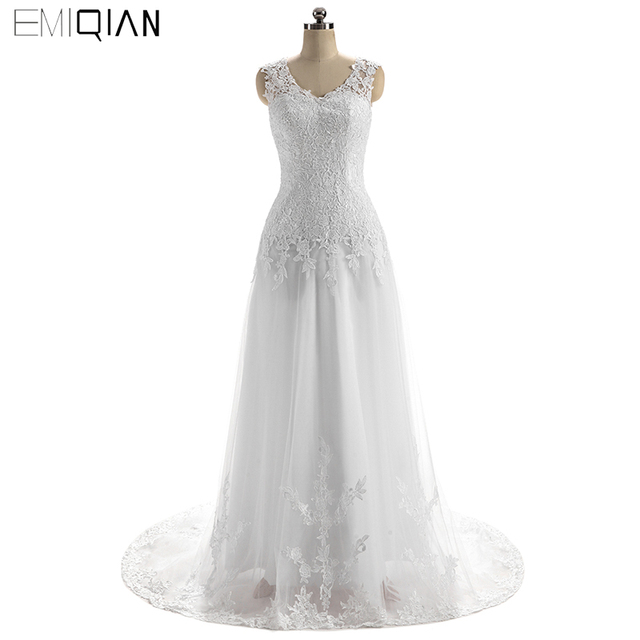 High Quality Elegant A-Line V Neck Cap Sleeve Court Train Tulle Wedding Dress Backless Appliques Lace Bridal Gowns Cheap