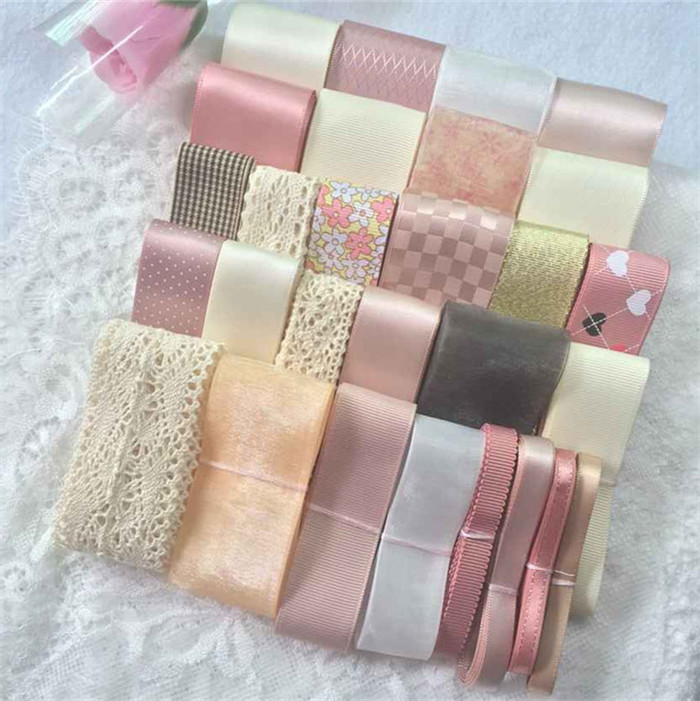 High quality!29M+3Yard 30 style Mixed Sweet Pink Satin