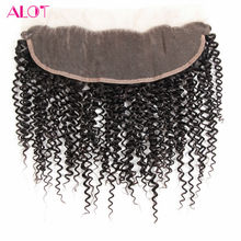 ALot Hair Ear to Ear Pre Plucked Peruvian Curly Lace Frontal Closure with Baby Hair 13×4″ Non Remy Human Hair Free Part Closure