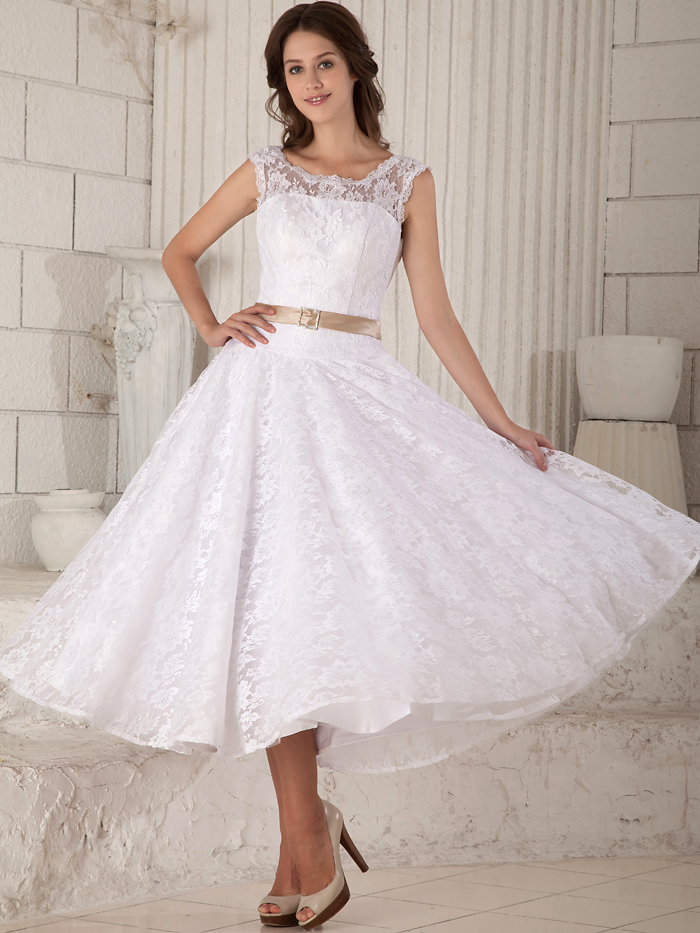 2017 Real Vintage Tea Length Lace Wedding Dresses Reception Simple Short Bridal Gowns White Champagne Two Toned A Line Dress In From