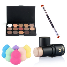 4 PCS Makeup Set Eye Shadow Highlighter Stick+Powder Puff Eyeshdow Brush Beauty Cosmetic Kit Make Up Tools