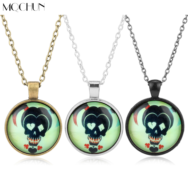 Movie Suicide Squad DC Comics Marvel Necklace Harley Quinn Pendant Necklace Chain Girl Anime Jewelry Cartoon Children Necklaces