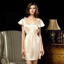 2016 Summer Fashion New Lounge Nightdress Female Silk Slip Sleepwear Super Sexy Women's Sleepshirt With Sashes For Free Shipping