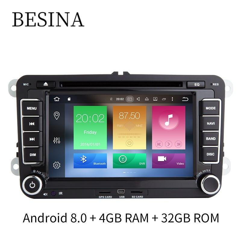 Besina 7 pouce 2 Din Android 8.0 Lecteur DVD de voiture Pour Volkswagen VW Passat POLO GOLF Skoda Seat Leon GPS navi Radio 4g Multimédia
