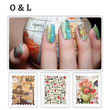 1sheet Hot Postage Stamp Water Transfer Nail Art Stickers Flowers Building Heart Design Water Decals Nail Decoration Tools