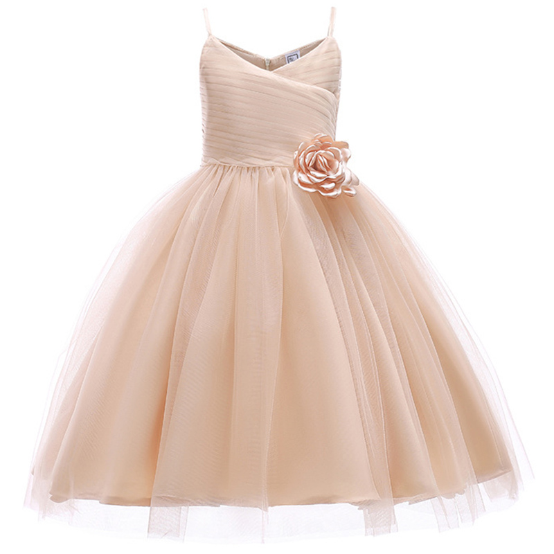 Flower Girl Wedding Party Bridesmaid Walking Show Hanging Champagne Dresses Girl Baby First Eucharist Party Dresses Vestidos