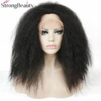 StrongBeauty Long Synthetic Kinky Straight Black Hair Heat Resistant Fiber Women's Full Wig Lace Front Wigs