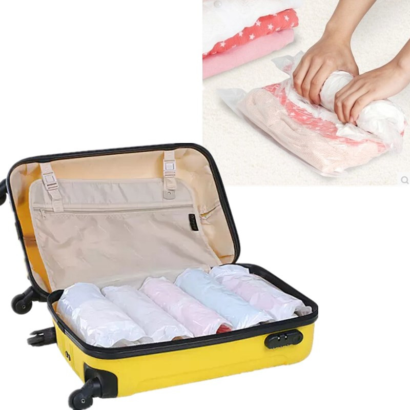 10pcs Roll-up Compression Vacuum Clothes Storage Bag Camp Travel Home Laundry Luggage Package Space Save Rolling Bags