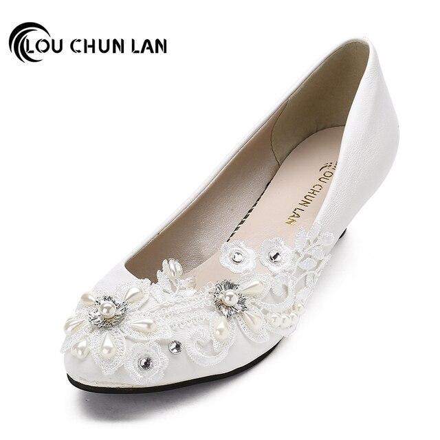 37f53210 LOUCHUNLAN Handmade na Niskim Obcasie Buty Białe Buty estetyczne Druhna  tańca Buty Kobiece Buty Ślubne Kobiety