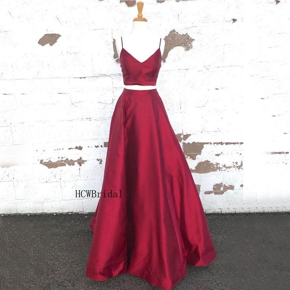 Dark Red Satin Long   Prom     Dresses   Sexy Spaghetti Strap Sweetheart A Line 2 Piece Evening Gowns Custom Made 2019 New Party   Dress