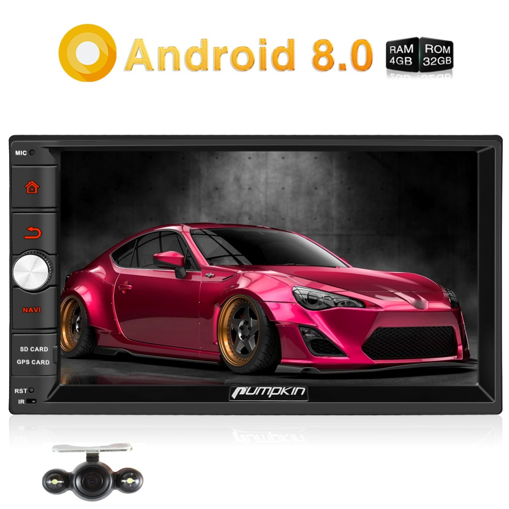 Pumpkin Android 8.0 Universal Car Radio 2 Din 7'' Car Stereo GPS Navigation Qcta-Core 4GB RAM Wifi 4G Video Audio Player NO DVD