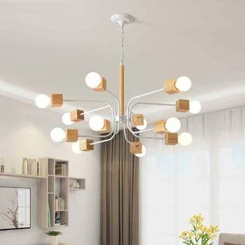Moderne LED Kroonluchter Voor Woonkamer Houten Lustres Houten Kroonluchters Opknoping Eetkamer Lichten Wit Keuken Armaturen