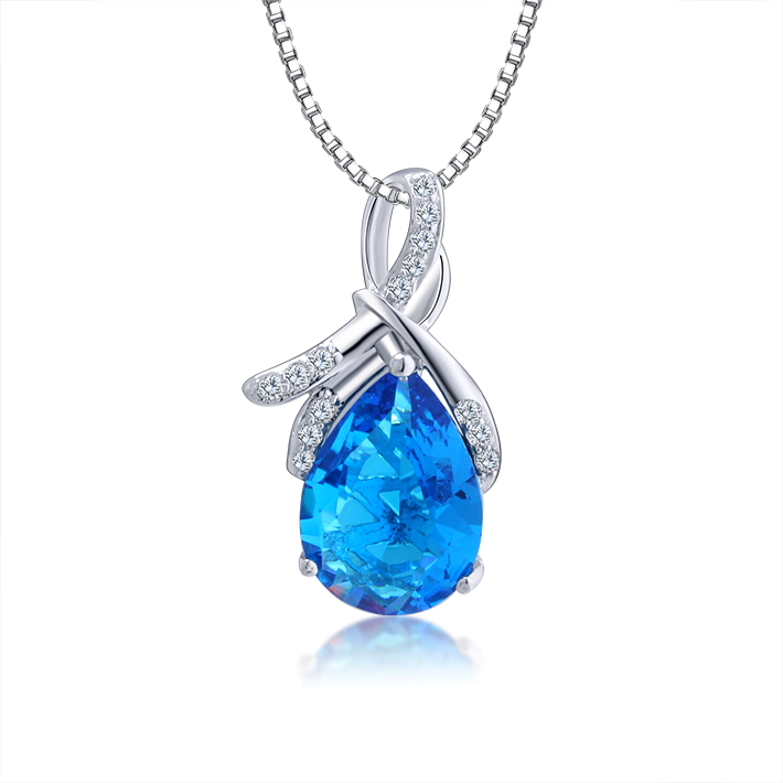 Blue stone waterdrop pendants necklaces unique jewelry long blue stone waterdrop pendants necklaces unique jewelry long necklaces 2014 women fashion brand wedding sterling silver necklaces in pendants from jewelry aloadofball Choice Image