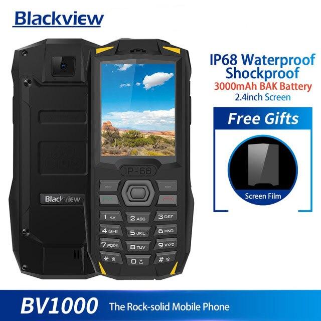 Blackview BV1000 IP68 étanche antichoc téléphone portable robuste 2.4 pouces MTK6261 3000 mAh double SIM Mini téléphone portable lampe de poche
