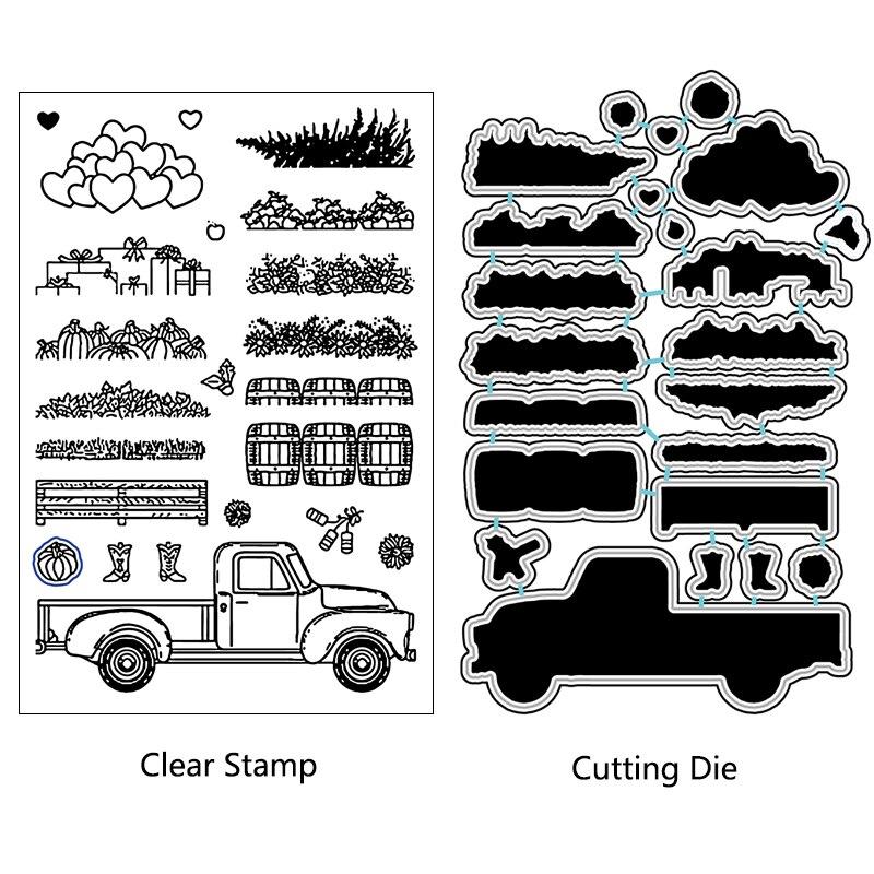 AZSG Vegetable Garden Stuff Rural Cutting Dies Clear Stamps For DIY Scrapbooking/photo Album Decorative Silicone Craft Chapte