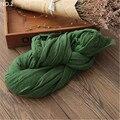 Mujeres de la manera del Otoño Impresión de Algodón de Lino de Color Sólido Larga Arruga Bufandas de Pashmina Mantones Wraps Nueva