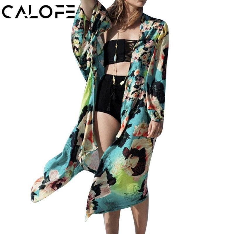 2018 Summer Women Long Beach Tunic Swimwear Floral Cover Up Bikini Beach Dress Women Bathing Suit Cover Swimsuit Cover Tunic