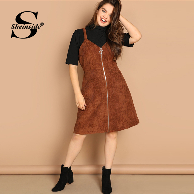 Sheinside Brown Plus Size O-ring Zip Front Corduroy Pinafore Women Dress Casual Sleeveless Ladies Dresses 2019 Fall A Line Dress 4