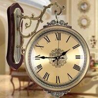 Meijswxj двухсторонний настенные часы Saat Reloj часы Relogio де parede обои Saati Ретро Вуд радиоволн настенные часы немой часы