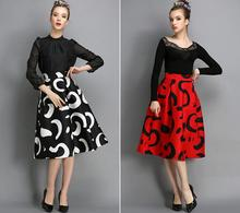 Women's Classic Black/Red Print High Waist Midi Skirt