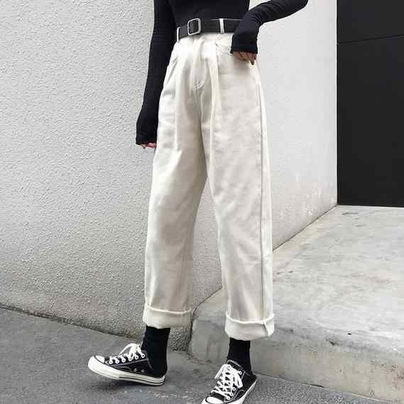 Luźna, wysoka talia cienkie spodnie damskie 2020 wiosna jesień Femme moda proste Casual jednokolorowe spodnie dziewczyny cały mecz świeże AE630