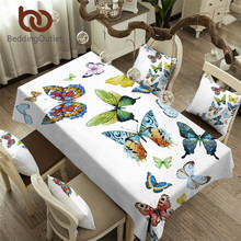 BeddingOutlet Butterfly Tablecloth Waterproof Dinner Table Cloth Flying Butterflies Decoration Table Cover Pastoral Washable