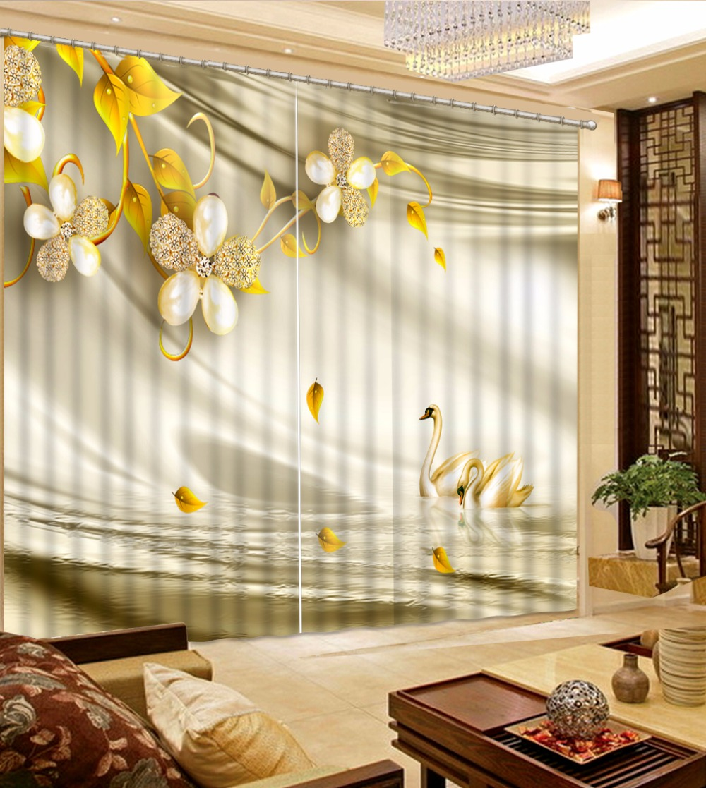 Simple Brief Flower Curtains Luxury Curtains For Living room Bedroom ...