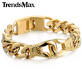 Trendsmax 13.5mm Wide Boys Mens Gold Plated Carved Knot Cut Cuban Curb Link Chain 316L Stainless Steel Bracelet HB438-HB441
