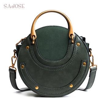 Women Totes Bag Fashion Circular Leather Retro Brand Metal Ring Handbag For Girl Small Round Lady Shoulder Messenger Bags SAJOSE Сумка