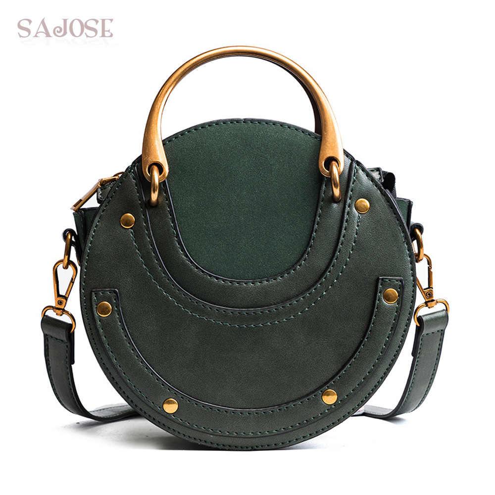 d707d35f6444 Женская сумка-тоут модная круговая кожаная ретро-брендовая сумка с  металлическим кольцом для девочки