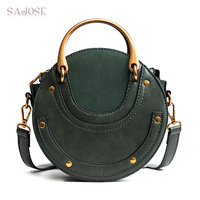 Women Totes Bag Fashion Circular Leather Retro Brand Metal Ring Handbag For Girl Small Round Lady