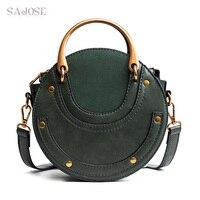 Vrouwen Bakken Tas Mode Circulaire Lederen Retro Merk Metalen Ring Handtas Voor Meisje Kleine Ronde Lady Schouder Messenger Bags SAJOSE