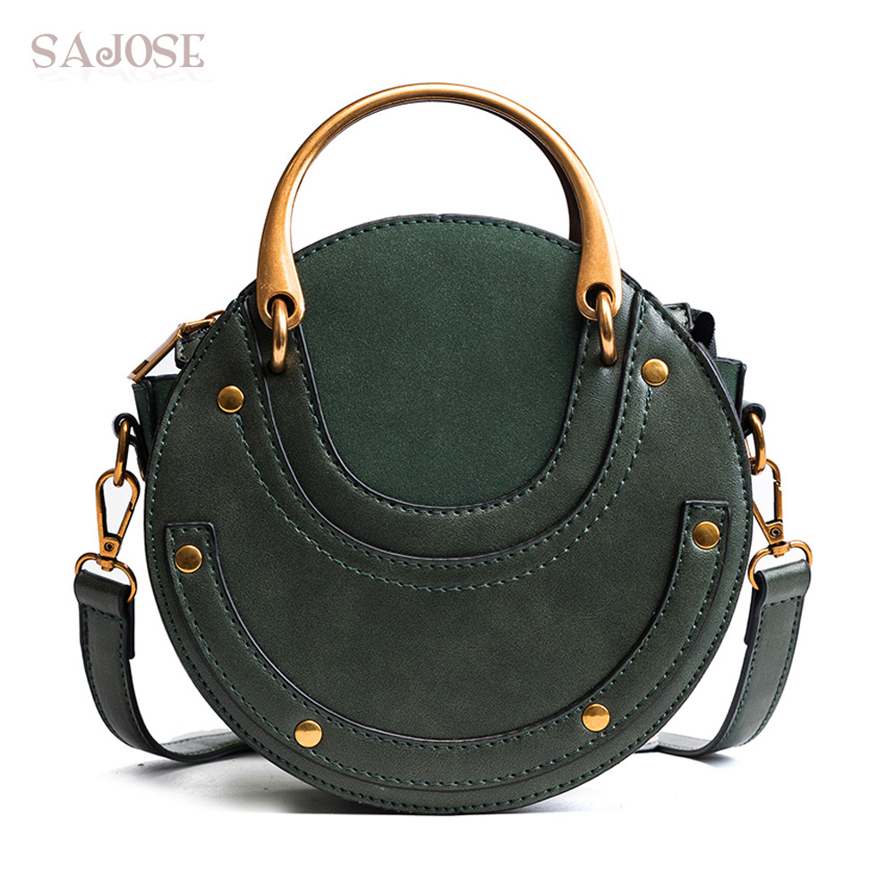 Women Totes Bag Fashion Circular Leather Retro Brand Metal Ring Handbag For Girl Small Round Lady Shoulder Messenger Bags SAJOSE(China)