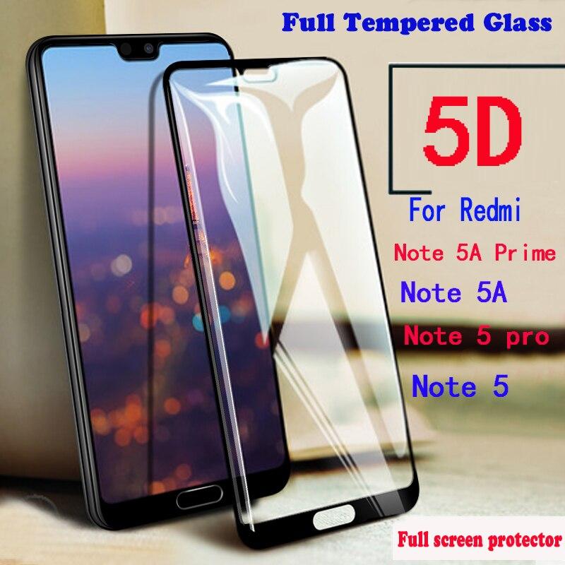 KaiNuEn Plein De Protection En Verre Trempé Pour xiomi Xiaomi Redmi Note 5A Prime Note 5 pro 5pro Film sur écran protecteur 3d 5d 9 H