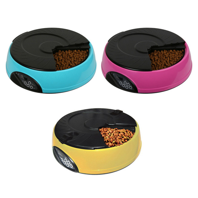 6 Meals Automatic Pet Feeder Food Trays Smart Dogs Cats Food Bowl Dispenser