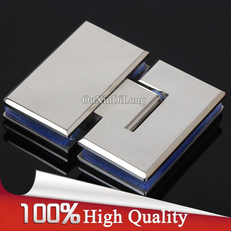 Haute qualité 304 en acier inoxydable coulée sans cadre salle de bains porte de douche charnières 180 degrés verre à verre charnières pinces Chrome