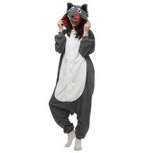 Hot Animal Cosplay Costume Pajamas Gray Wolf Homewear Unisex Hoodie Onesies Sleepwear Robe For Men