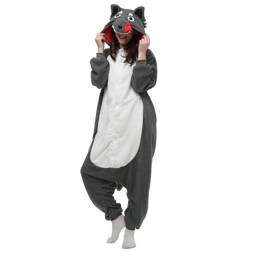 Christmas Halloween Birthday Gift  Hot Pajamas Gray Wolf Homewear Hoodie Onesies Sleepwear Robe For Adults