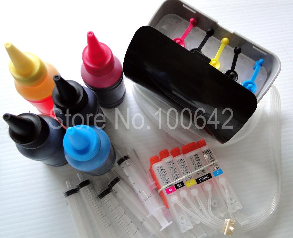 5 color + CISS ink cartridge PGI-550 CLI-551 for Canon PIXMA IP7250 MG6350 MG5450 MX925 MG7150 MG6450 MG5550 + 5 Bottle Dye ink