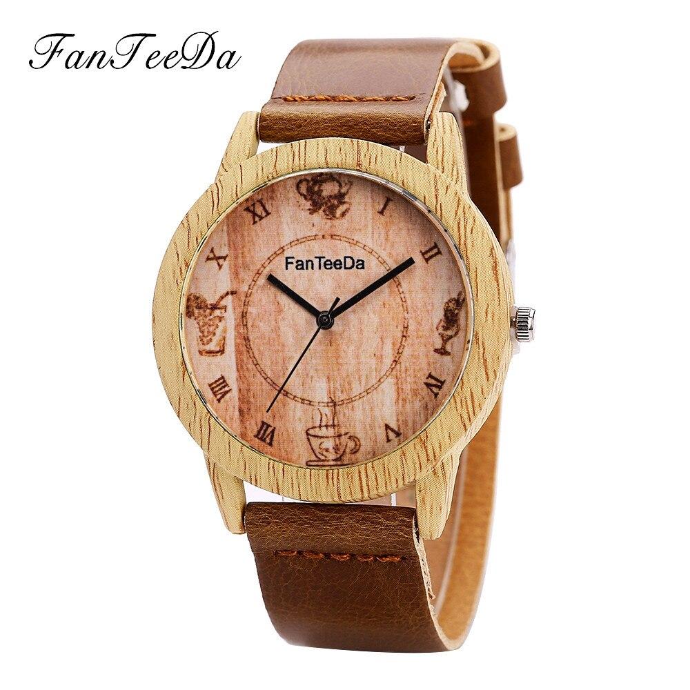 NEW FanTeeDa #FD075 Men wooden watches 2018 Simple