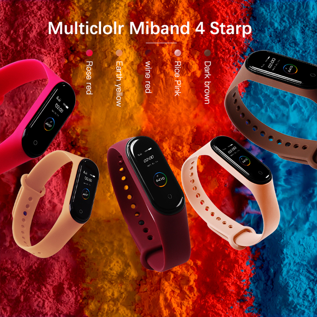 BOORUI for xiaomi mi band 4 strap new fashional colorful miband 4 strap silicone mi band 4 belt replacement for xiaomi mi 4 band 1