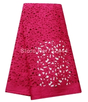 Fushia pink wedding dresses lace fabric laser cut lace fabric with beads high quality african nigerian lace fabric for aso ebi