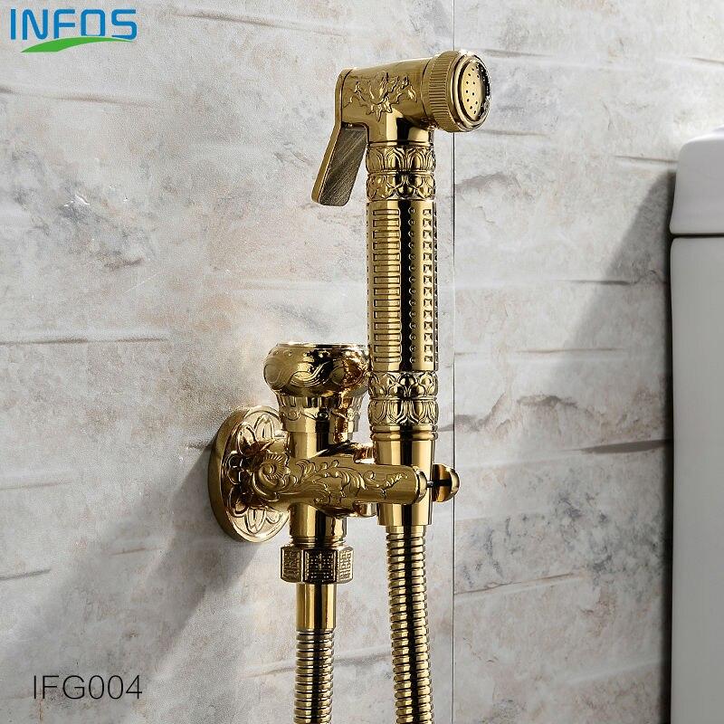 ФОТО INFOS INFOS Antique Brass Bathroom Bidet Faucet Toilet Portable Spray With Shower Holder Handheld Bidet grifo ducha IFG004